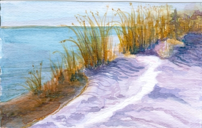 Snow at the Beach in Watercolor