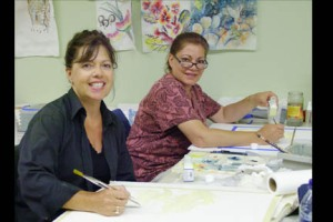 Jeanne & Mary Painting with beautiful smiles