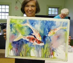 Jeanne Rogers Koi painting