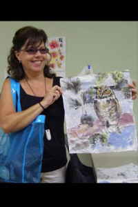 Jeanne  & her owl painting